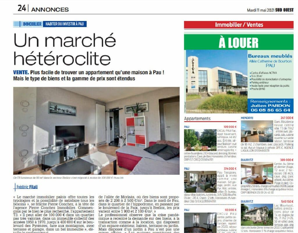 Articles de presse et magazines immobiliers - Agence immobilière Pierre Conchez